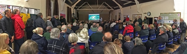 A packed Wanborough Village Hall for latest update in Inlands Farm Science Park Application